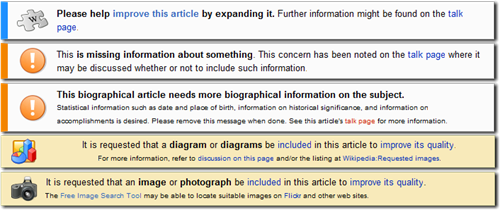 Example Wikipedia banners
