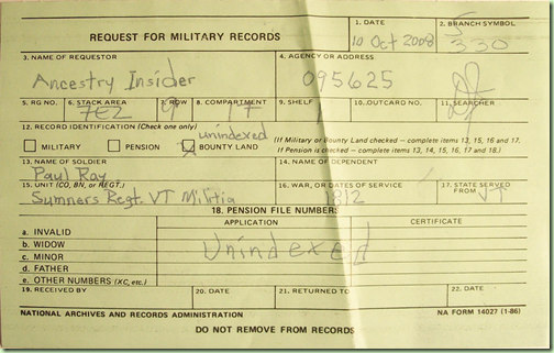 Request for Military Records