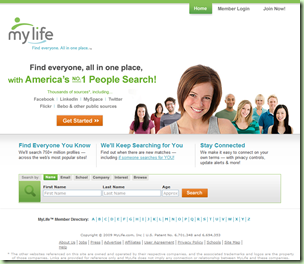 Home page of MyLife.com