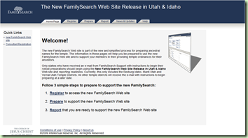 Screen shot of the new &#39;The New FamilySearch Web Site Release in Utah and Idaho&#39; website