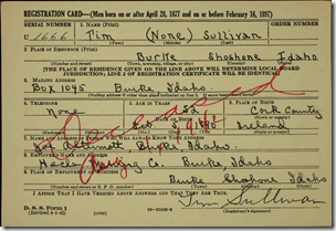Tim Sullivan Draft Registration Card in color