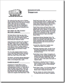 FamilySearch old, printed Tennessee Research Outline