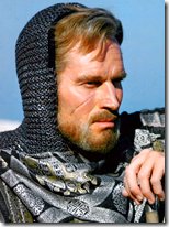 Charleton Heston provided forehead, bangs, mail, scarf, cheek and beard