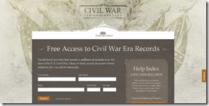 FamilySearch Civil War landing page