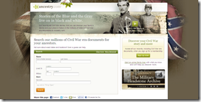 Ancestry.com Civil War landing page