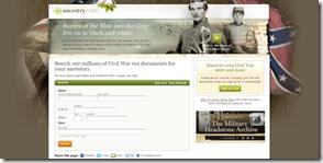 Ancestry.com Civil War landing page