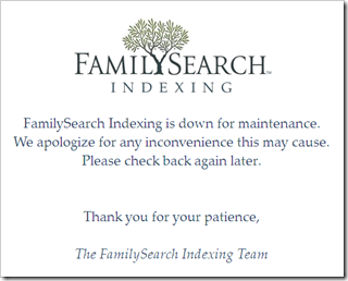 Indexing is down for maintenance