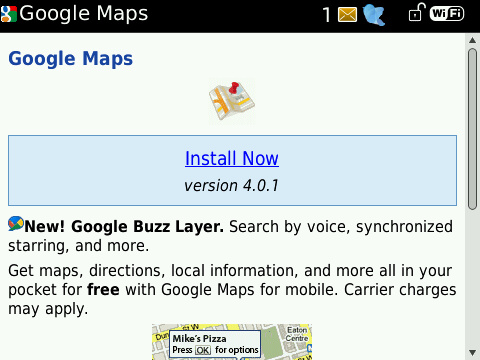 Google Maps for BlackBerry updated to v4.0.1
