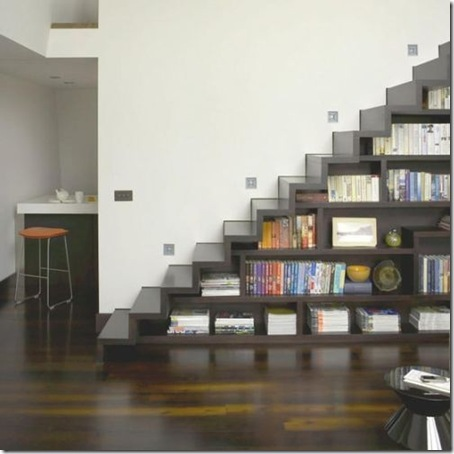 White living room staircase doubles as under stair storage shelves bookshelves mezzanine floor wood flooring L etc 05/2007 not used real home