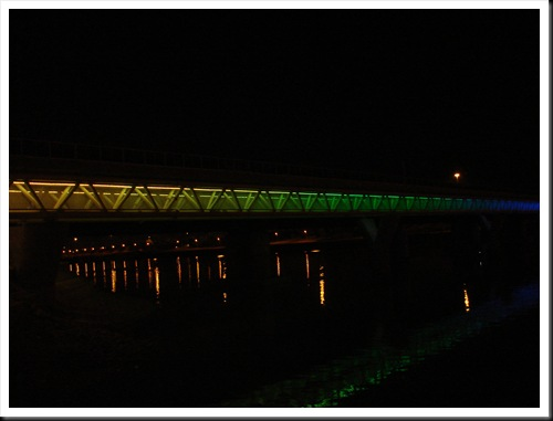 Rainbow Lighting Light Rail Bridge
