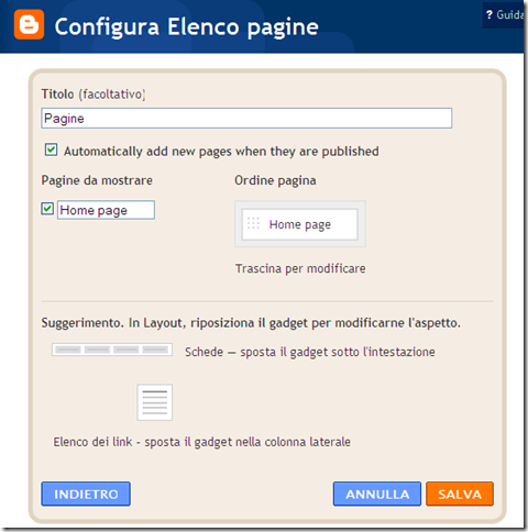 configura menu pagine blogger