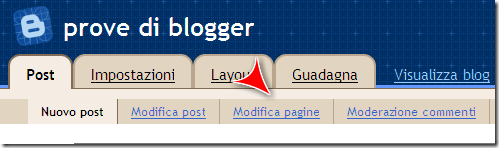 modifica pagina blogspot