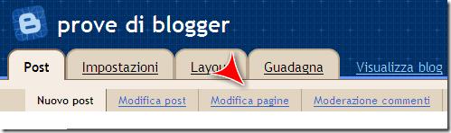 modifica pagina blogspot