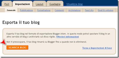 esporta il blog
