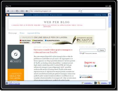 vedere blog su iPAD