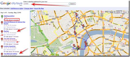 programmare itinerario google city tours