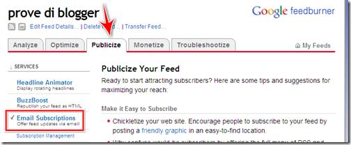 come mettere iscrizione newsletter blog blogger