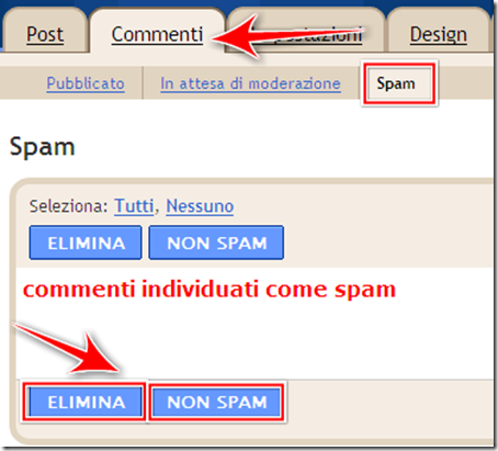 come cancellare commenti non spam blogspot