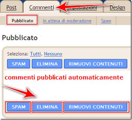 come cancellare commenti pubblicati blogger
