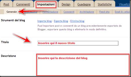 come cambiare modificare titolo descrizione blog blogger