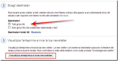 scegliere destinatari newsletter inviare email blogger