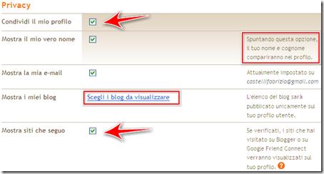 come mostrare condividere email blog profilo blogger