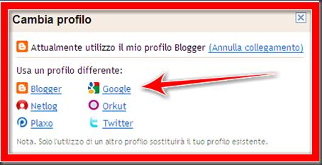 quale profilo utilizzare blogger lettori fissi Google friend connect