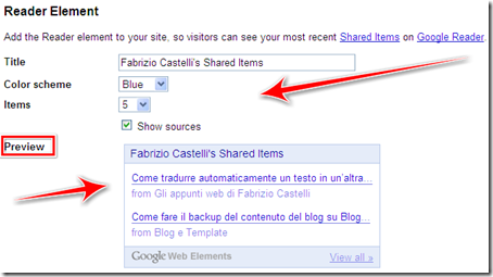 come inserire widget post condivisi google reader blog blogspot wordpress