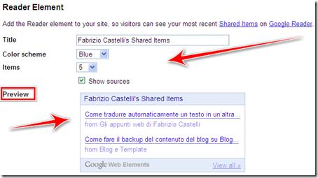 come inserire widget post condivisi google reader blog blogspot wordpress