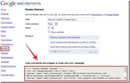 come realizzare gadget feed condivisi google reader blogger wordpress