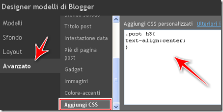 come centrare titolo post blog blogger CSS designer template