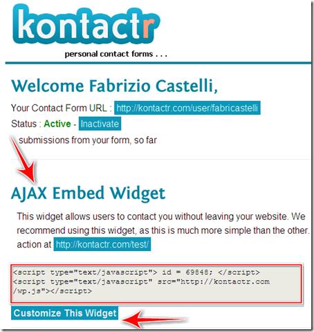 come inserire modulo contattami blog blogger