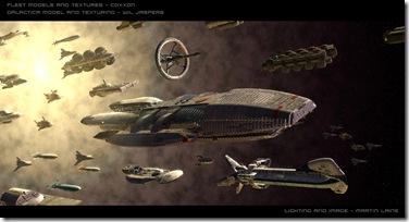La «Galactica» junto al resto de astronaves del reducto de humanos sobrevivientes al genocidio «Cylon»