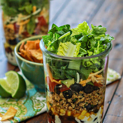 Layered Ground Chicken Taco Salad in a Jar