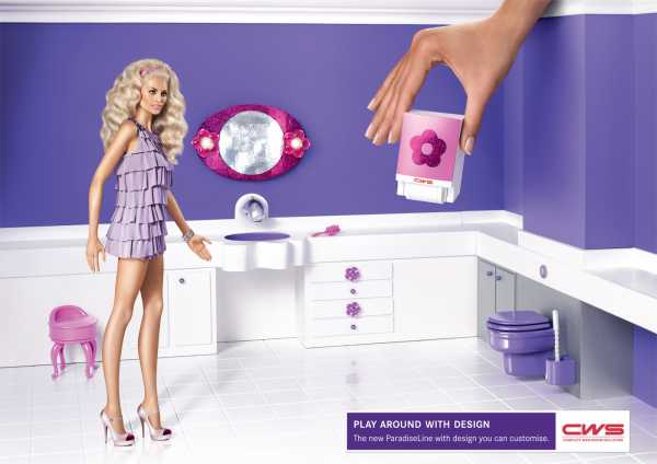 Barbie in a bathroom