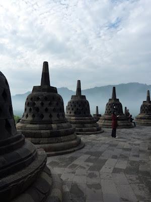 Stupas on the punultimate level of Borobodur
