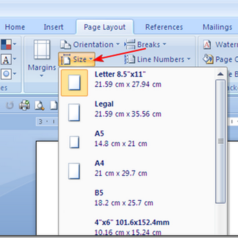 Mengatur Ukuran Kertas Pada MS Office Word 2007/2010