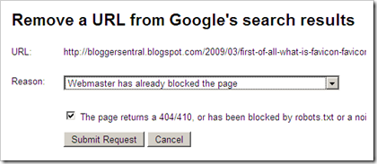 google remove url reason