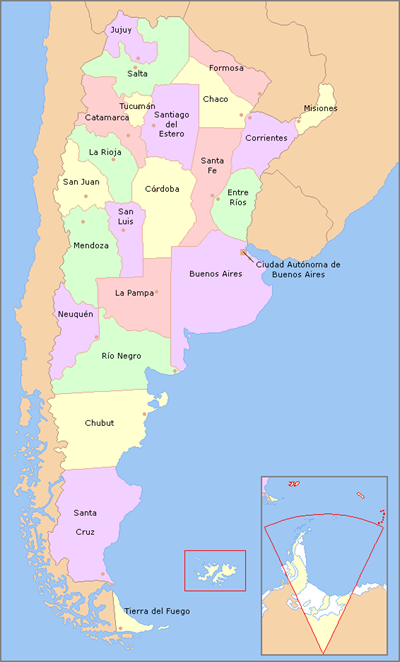 Map of Argentina with Provinces [Used under Creative Commons license]