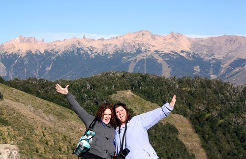 Katie and Marianna on Cerro Otto with Cerro Catedral in the Background, Bariloche, Argentina by Vince Risi