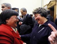 Middle-aged lesbian couple celebrates