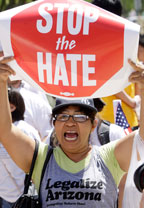 Woman protesting Arizona law