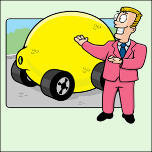 Used car salesman offering a lemon
