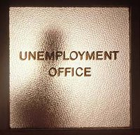 Door labeled Unemployment Office