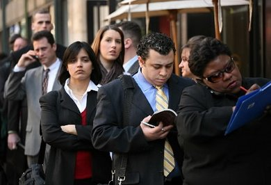 Jobless people stand in line