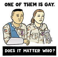 Image of 2 wounded soldiers; caption - '1 of them is gay. Does it matter who?'