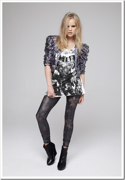 Lace and sequin jacket £25 due in store end October, Roll sleeve printed tee £6 in store now, metallic laser cut leggings £8 due in store mid October, Wedge ankle boot £20 due in store mid September, large dome cocktail ring £2.50 due in store end September, peacock brooch £4 due in store end October, snake ring £2.50 due in store beg. September, Owl brooch £1.50 due in store beg. September.