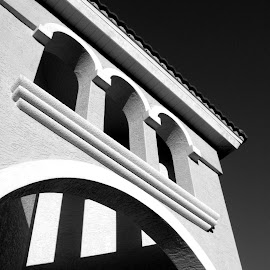 Belltower by Meghan McCarthy - Buildings & Architecture Architectural Detail ( roof, belltower, black and white, shadow, architecture )