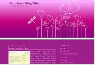 Garden of Hearts blogspot template, 2 columns blogspot template, Valentines day templates