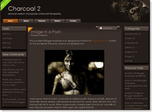 charcoal 3 columns, blogspot template